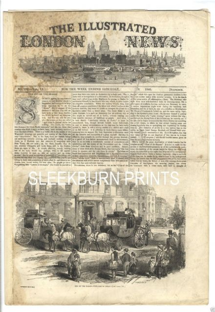 1846 ILLUSTRATED LONDON NEWS VIzetelly ST PETER PORT GUERNSEY Fishing Grayling (7220)